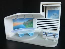 Maquette d'un agencement d'une agence de voyage fabriqué en impression 3D couleur CJP.