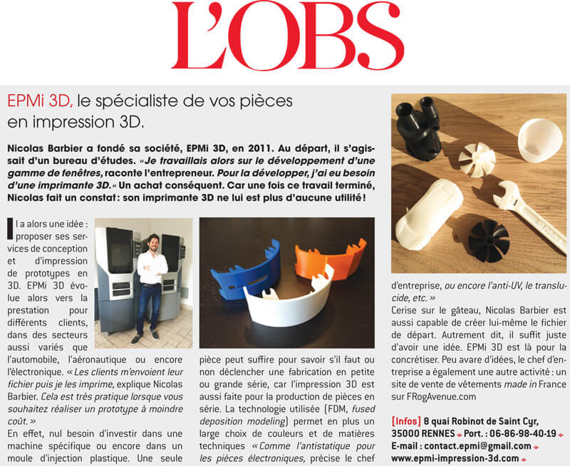 Article sur Nicolas Barbier EPMi 3D dans le supplement Bretagne de L'Obs