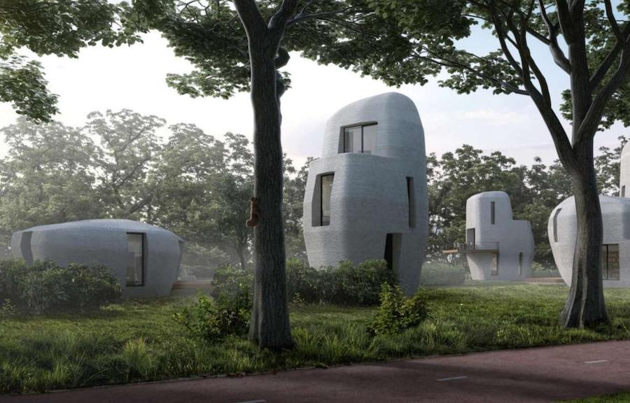maisons réalisées en impression 3d