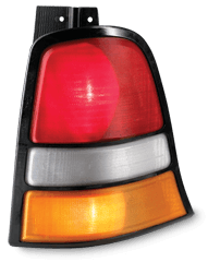 Phare arrière de voiture fabriqué avec une imprimante 3D avec un matériau translucide ABSi rouge, naturel et ambre.