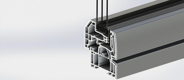 Profilé de fenêtre en plastique PVC pour maison passive.